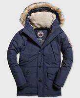 $200 Superdry Men's Blue Hooded Logo Full-Zip Winter Warm Parka Jacket Coat L