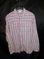 Columbia XL Red Blue Plaid Snap Front Shirt Leadville Ridge Long Sleeve Cotton