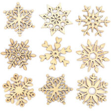 10 Assorted Wooden Snowflake Laser Cut Christmas Tree Hanging Decor Ornament