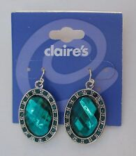 e turquoise Green aqua faceted sparkle dangle claire's EARRINGS jewelry