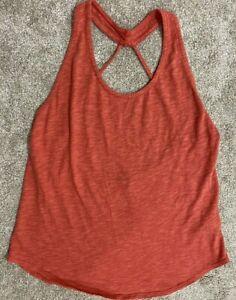 Prana Women's Tank Top Size XS Yoga Workout Cotton Coral thin strap low back