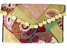 US SELLER  Multicolor Ethnic Embroidered Handbag Clutch Indian Handmade w/Strap