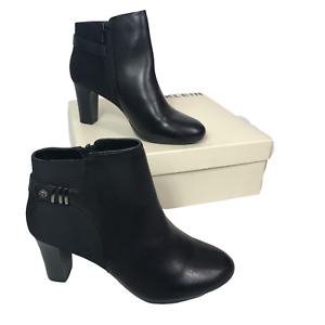 """Anne Klein Ladies Black Leather Ankle Boots Size 6 Heeled 3"""" Heel Sully RRP £189"""