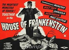 VINTAGE HOUSE OF FRANKENSTEIN MOVIE POSTER A2 PRINT