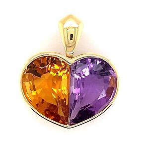 14k Yellow gold Amythest & Citrine Heart shape pendant Fine Custom made jewelry