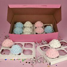 100 PINK CUPCAKE Bakery Box 14x10x4 with INSERTS each holds 12