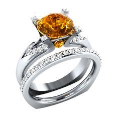 2.4 Ct Round Citrine and Sapphire Wedding Band Bridal Ring Set 14k White Gold GP