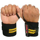 WEIGHT LIFTING TRAINING WRIST SUPPORT COTTON WRAPS GYM BANDAGE STRAPS YELLOW 18