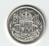 CANADA 1958 50 CENT HALF DOLLAR QUEEN ELIZABETH CANADIAN .800 SILVER COIN