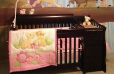 Espresso Wood Baby Crib With Changing Table
