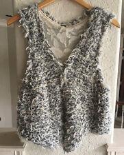 Free People Shag Vest Gray XS Wool Blend Shaggy