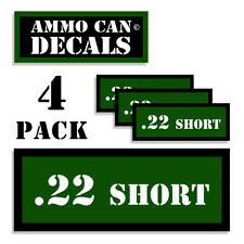 """22 SHORT Ammo Can 4x Label for Ammunition Case 3""""x1.15"""" sticker decal 4 pack GR"""