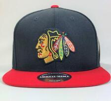 Chicago Blackhawks Black/Red Snapback Hat American Needle Licensed New