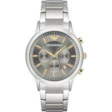 NUOVO EMPORIO ARMANI AR11047 Acciaio Orologio Cronografo da uomo - 2 anni di garanzia