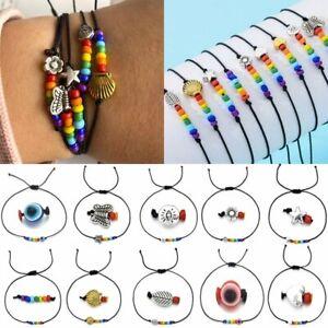 Fashion Lucky Rainbow Beaded Bracelet Handmade Rope String Bangle Jewelry Gifts