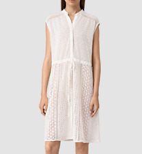 All Saints Elsa Waist Dress in White. Embroidered Silk. Lace. Size UK 6