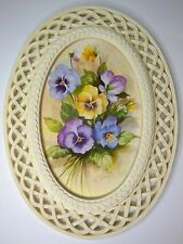 Vintage Homco Fran Anderson Pansy Print in Ivory Lattice Frame Yellow Purple