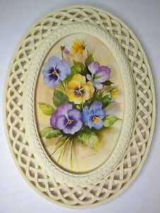 Vintage MCM Homco Fran Anderson Pansy Print in Ivory Lattice Frame Cottagecore
