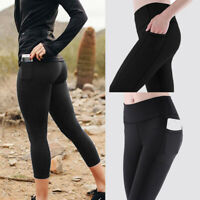 Womens Capri Leggings with Pockets High waist Yoga Pants Sports Gym  Workout