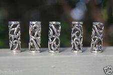 5 Tibetan Style Silver Hollow Dreadlock Beads 8mm (5/16 Inch) Hole