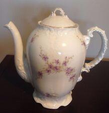 Vintage Porcelain Coffee Tea Chocolate Pot with Gold Trim & Purple Flowers