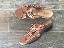 Clark Bendables Brown Wedge Leather Sandal Size 8M Slip On
