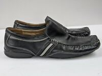 Men's Steve Madden Sz 9.5 Meno Black Leather Slip On Casual Dress Loafers Shoes