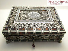 Large Anglo Indian VIZAGAPATAM Table Trinket Cigarette Cigar Box Jewelry Casket