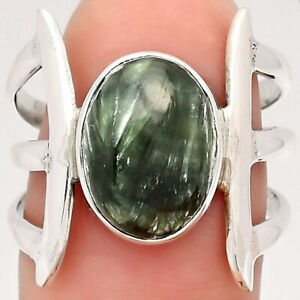 Natural Russian Seraphinite 925 Sterling Silver Ring s.7 Jewelry 3878