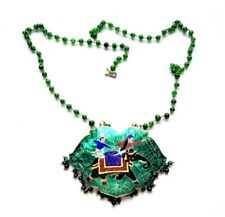 Vintage Rajasthan Enamel Cloisonne Large Pendant Green Glass Bead Necklace, 21""