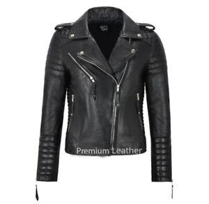 Ladies Real Leather Biker Jacket Classic Biker Fashion Womens Black Jacket