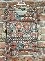 Absolutely Famous Knit Top Womens Size Large 3/4 Sleeve Lace Detail (A18)