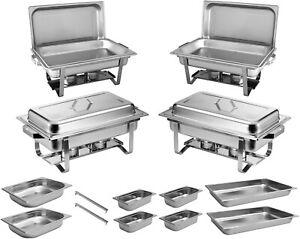 4x Chafing Dish Starter Set Speisewärmer Warmhaltebehälter Edelstahl - ZORRO