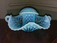 Fenton Blue Hobnail Glass Top Hat Vase Toothpick Holder Fluted Bowl Opalescent
