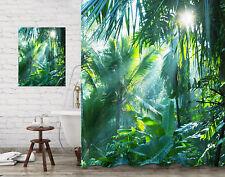 Bathroom Shower Curtain Set & Painting Sunlight Tropical Jungle Banana Leaves