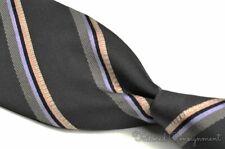 """ERMENEGILDO ZEGNA COUTURE Black Twill Striped COTTON SILK Luxury Tie - 3.625"""""""