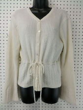Tangents Cream Button Sweater w/Tie Extra Long Sleeves Womens Size M