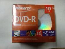 Memorex DVD+R DVD-R 16X 4.7GB 10 Pack 120 min - SEALED (C2/A8)