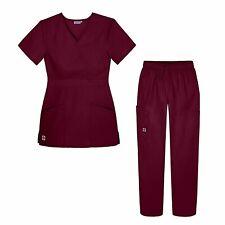 Sivvan Women's Scrub Set - Multi Pocket Cargo Pants & Stylish Mock Wrap Top.
