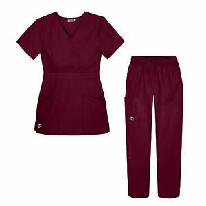 Sivvan Women's Scrub Set - Multi Pocket Cargo Pants & Stylish Mock Wrap Top...