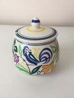 POOLE Pottery Jam Pot & lid Conserve Shape No 288 Signed Blue Bird Floral