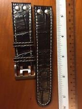 22 mm Di-Modell Dark Brown Alligator-Grain Leather German Watch Band Strap