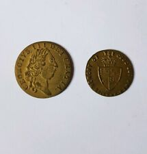 Gold Spade Guinea & 1/2 Guinea Coin Counters - Rare Antique Victorian Tokens UK