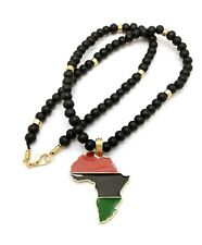 """Wooden Bead Hip Hop Necklace Rc3922Wbk Africa Continent Pendant 8mm 18"""",20"""",24"""" ;"""