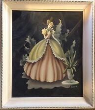 Vintage Framed Print Southern Belle Lady Crinoline Gown Signed Turner