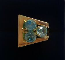 Vintage Blue Zircon Buckle Style Ring 14ct Yellow Gold - Size O (US 7) - 8.9 g