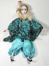 "Vintage  18"" Porcelain Bisque Harlequin Doll In Blue Outfit c. 80's"