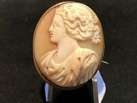 Antique Large Hand Carved Shell Cameo Pin Pendant
