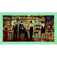 "RETRO PIANO BAR FABRIC PANEL  ARTWORK DIGITAL  QUILTING TREASURE COTTON  23""x44"""