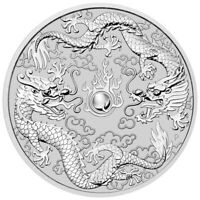 2019 P Australia 1 oz 1 oz. Silver Double Dragon $1 Coin GEM BU SKU57855